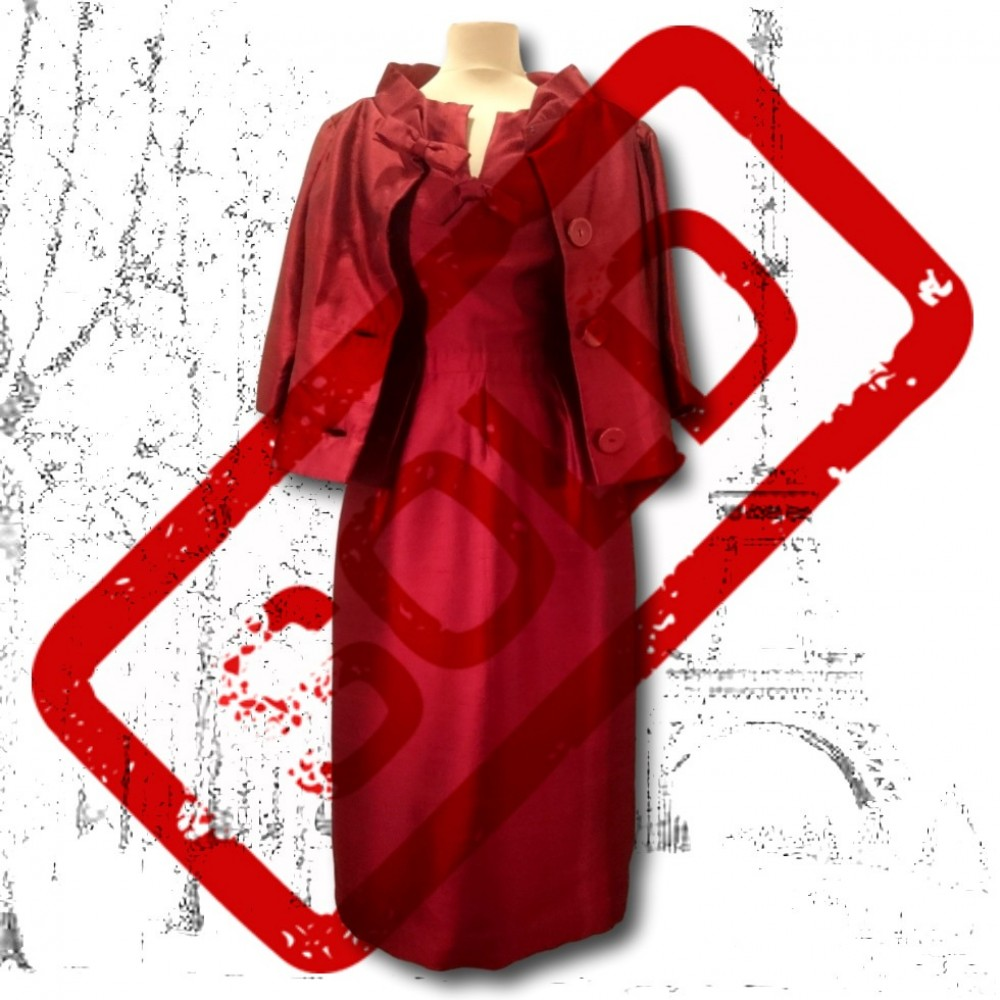 1950's Red Silk Christian Dior Dress and Jacket