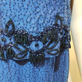 1960's Blue Beaded Party Dress