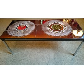 Double Circles 1960s Tile Topped Coffee Table