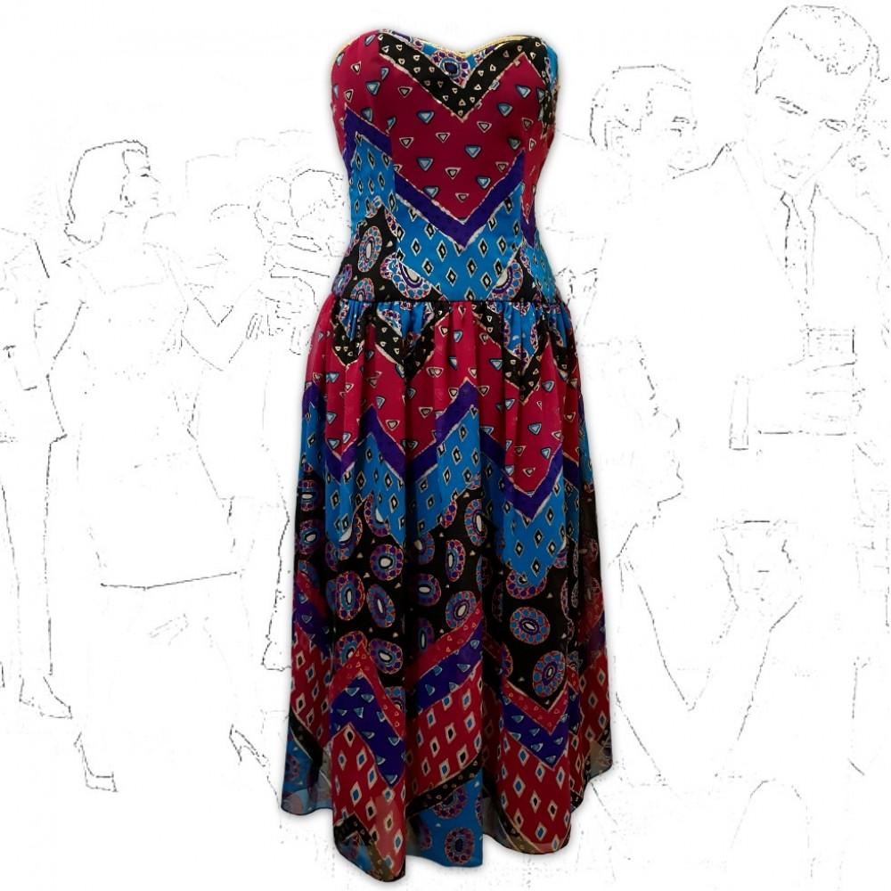 1980's Alibi Hand Painted Silk Party Dress .