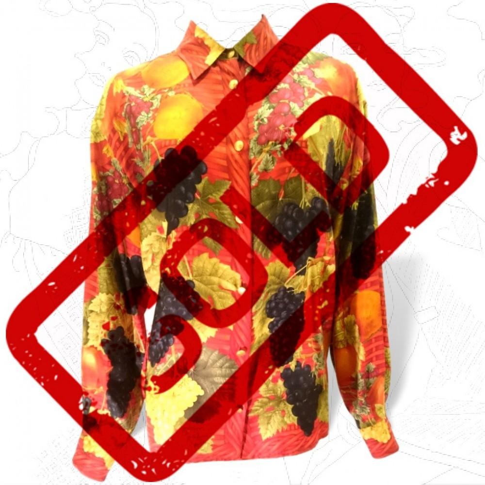 1980's Gucci Silk Fruit Print Shirt .