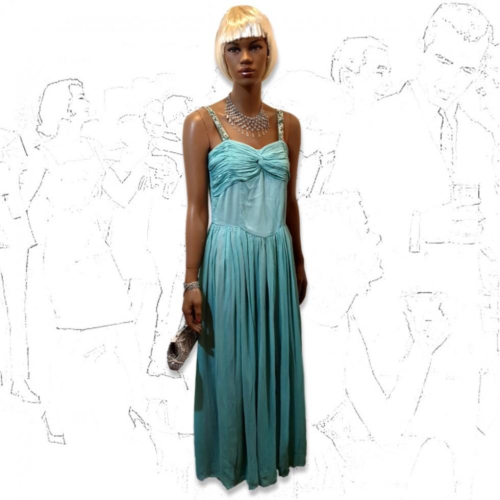 1950's Blue Crepe Evening Dress