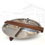 Arthur Salm Teak and Steel Revolving Tray .