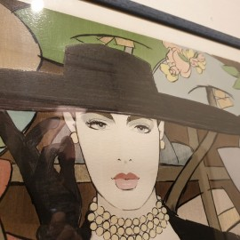 1980's Lady in Black Hat Large Signed Picture