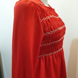 1970's Red Long Sleeve Maxi Dress .