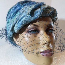 Gorgeous 1960's Blue Feather Hat