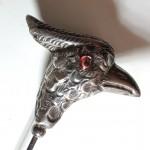 Edwardian Silver Bird Hat Pin .