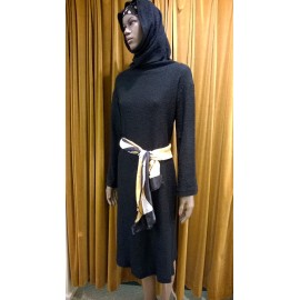 Black 1980's Adwokat Paris Hooded Dress- Grace Jones Style!