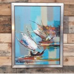 Vintage Chinese Boats Oil Painting .