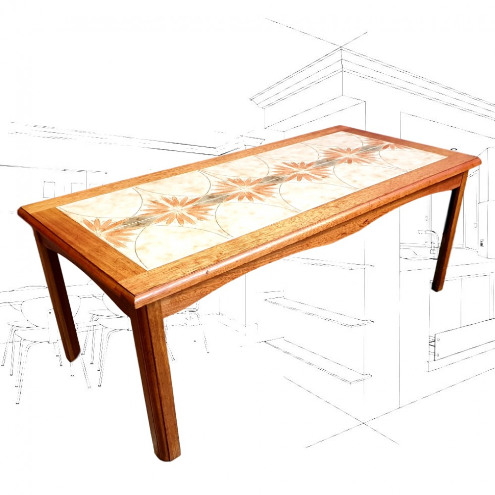 1960's Wooden Tiled Coffee Table