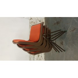 4 Steelux Brown And Orange Stacking Chairs