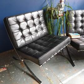 Black Barcelona Style Steel Chair