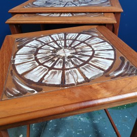 Danish Teak Nesting Tables With Tiles