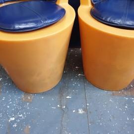 Pair of 1990's Tom Dixon Orange Tub Chairs
