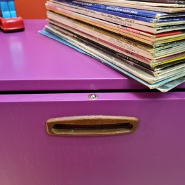 Vintage Purple Painted LP Media Cabinet
