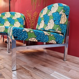 African Print Steel Framed Chairs