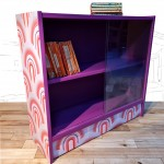 Funky 1960s Reworked Purple Bookcase