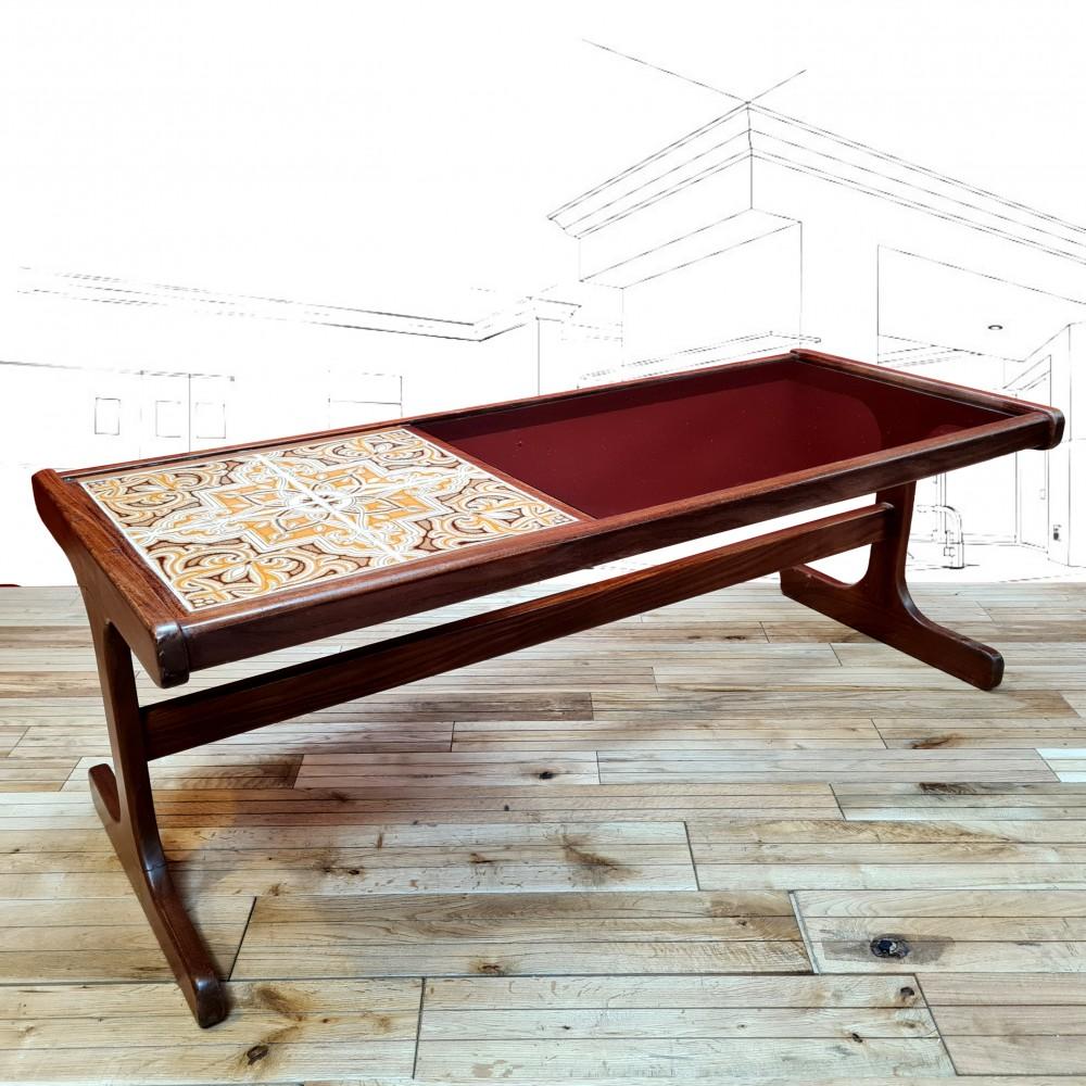 1970's G-Plan Glass And Tile Coffee Table