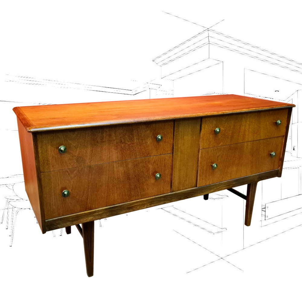 1960's Teak 4 Drawer Sideboard