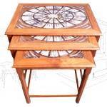 Danish Teak Nesting Tables With Tiles