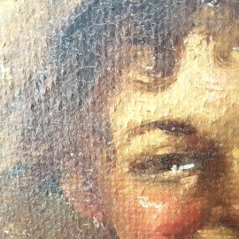 Gennaro Villani 'Boy in Straw Hat' Oil Painting .