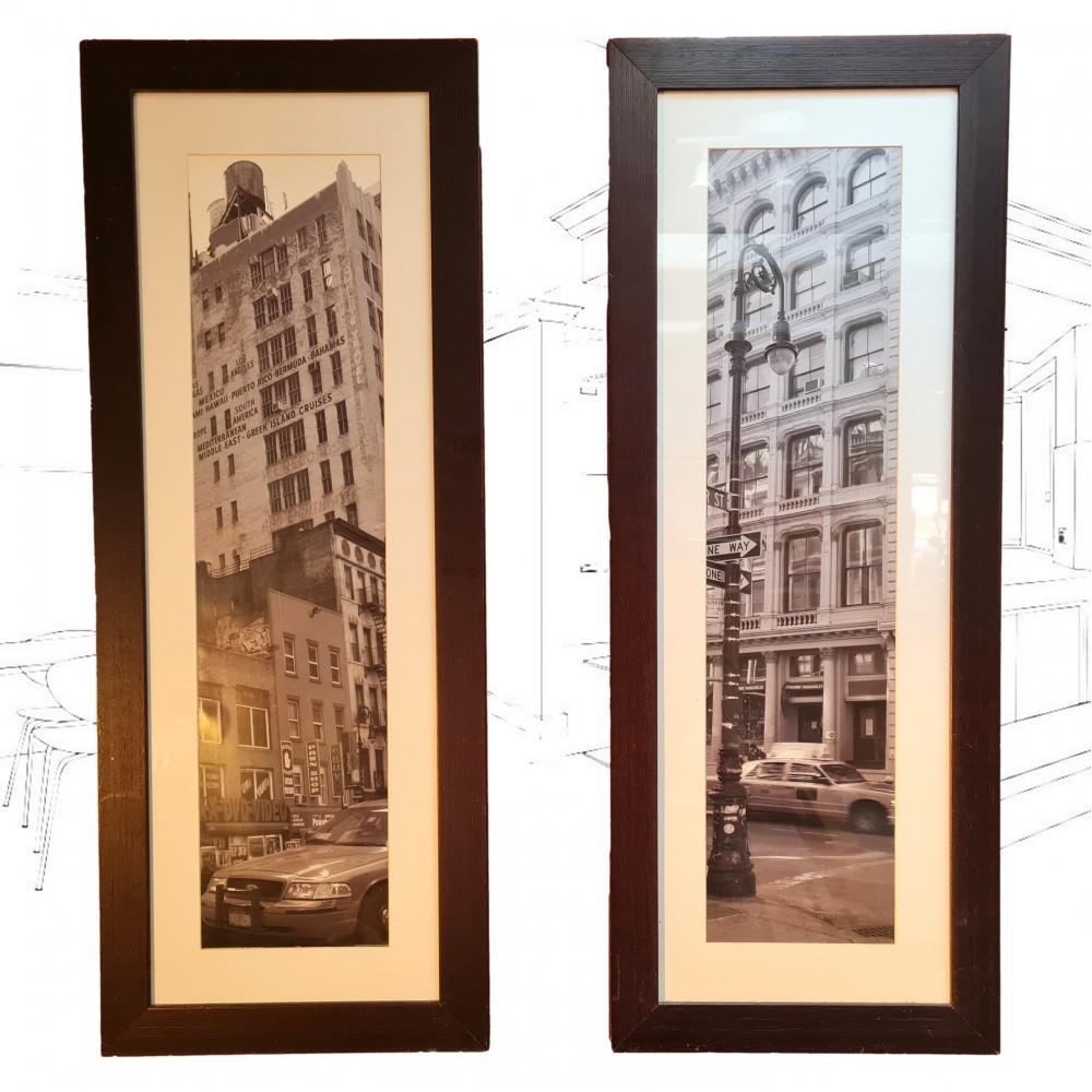 Pair Of Black And White New York City Prints