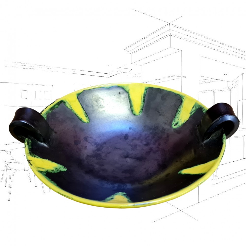 Vallouris Large 1950's Black and Yellow Bowl