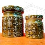 1960's Portmeirion Green Totem Storage Jars