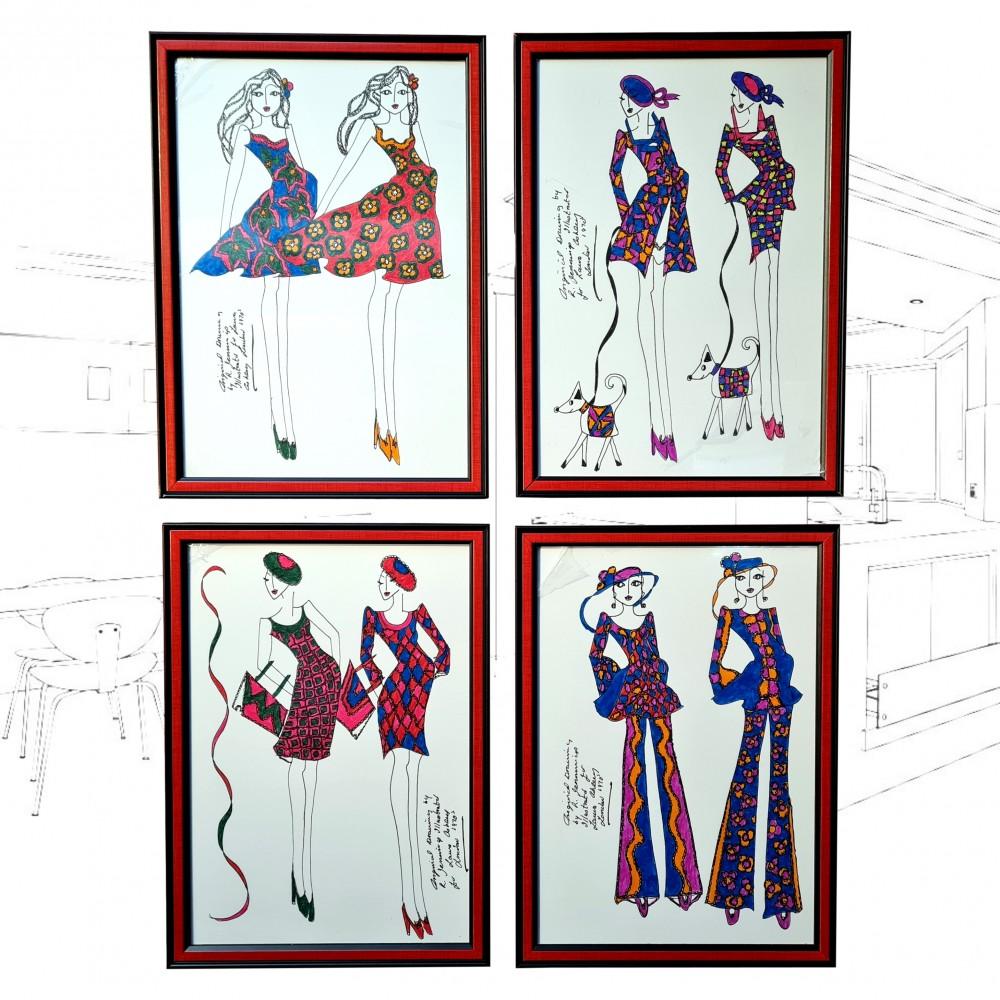 1970's Laura Ashley Fashion Illustrations