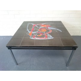 1960s Large Square Tile Topped Coffee Table