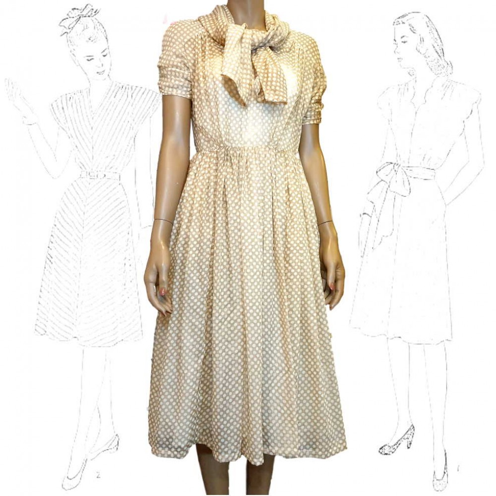 1950's Caramel Spotted Day Dress