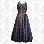 1950's Pink & Black Lace Gown