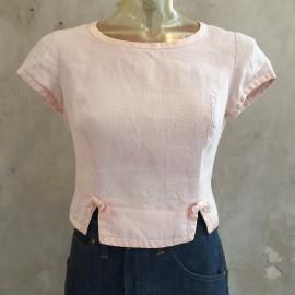 1950's Pink Short Sleeve Linen Top