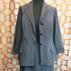 1950's Black Striped Skirt Suit