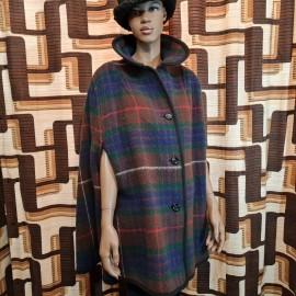 Vintage Reversible Tartan Wool Cape