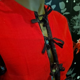 1970's Red Cord Miss Selfridge Dress