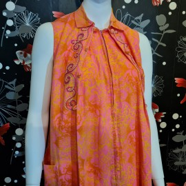 1960's Diamond Tea Gown Pink Maxi Dress