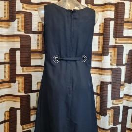 1960's Sid Greene Tasseled Black Dress