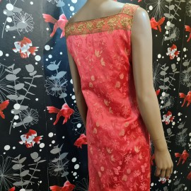 Oriental Pink And Gold Evening Dress