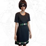 1960's Black Embroidered Mini Dress