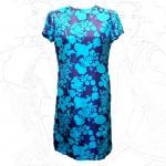 1960's Cresta Turquoise Silk Shift Dress