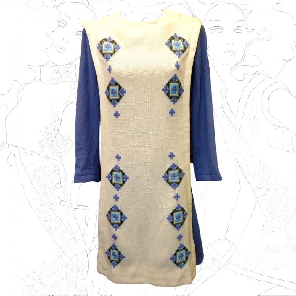 1960'S Blue & Cream Wool Dress