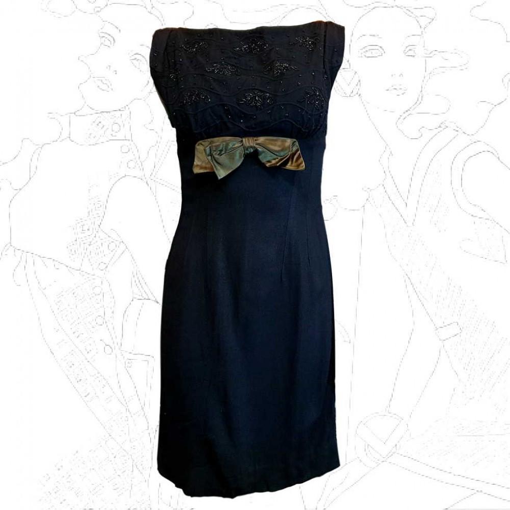 1950's London Town Black Cocktail Dress