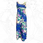 1960's Pyschedelic Blue Maxi Dress