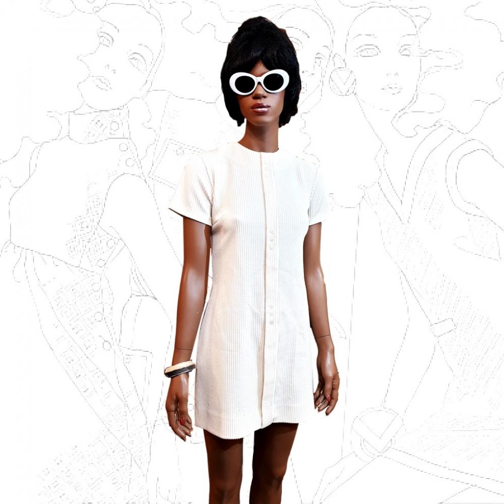 1960's Crimplene  Cream Mini Dress