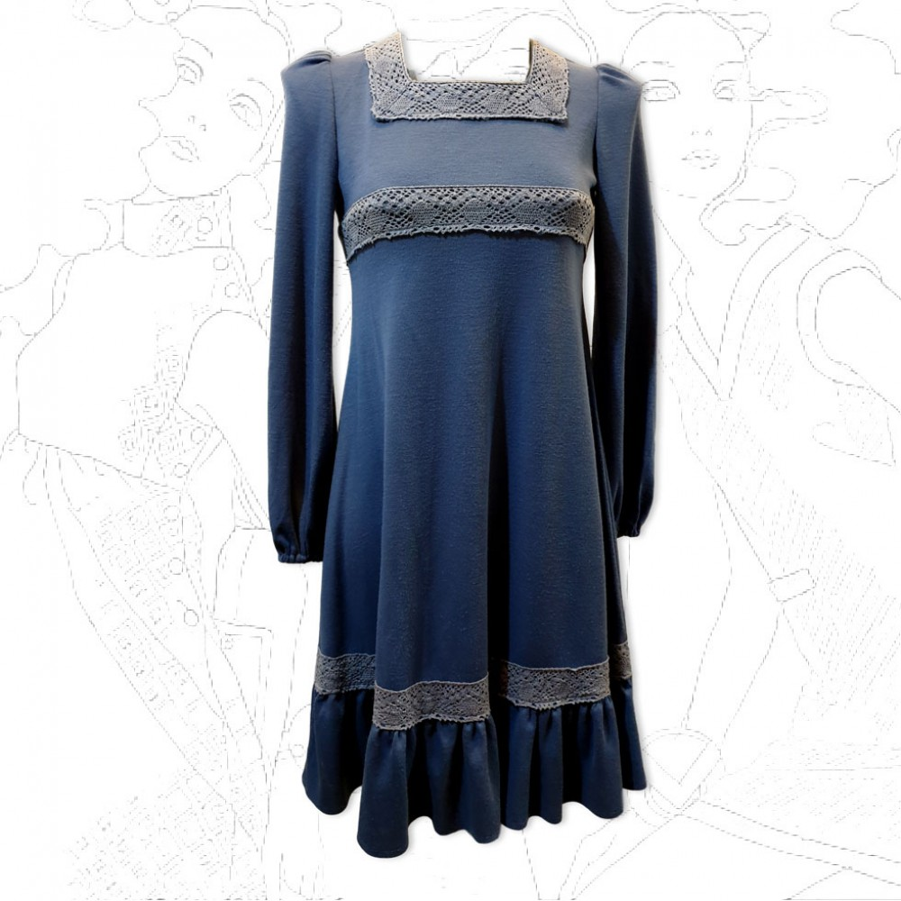 1960's Blue Cotton Mini Dress