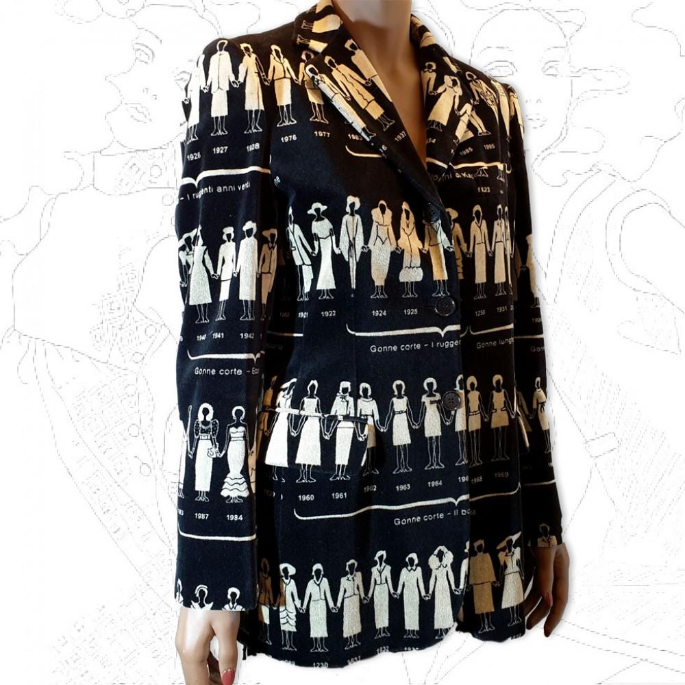 Moschino Black Velvet Printed Jacket .
