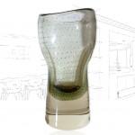 Vintage Seguso Bullicante Glass Vase .