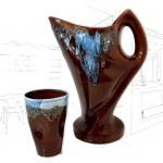 Vintage Vallauris Jug & Cup Set .